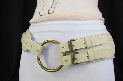 Cream Off White  / Black Faux Leather Braided Hip / Waist Belt Round Buckle New Women Moroccan Fashion Accessories Medium - alwaystyle4you - 11