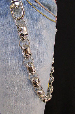 New Men Women Silver Metal Long Wallet Chains Key Chain Thick Skulls Skeleton Biker Punk Rocker Accessory - alwaystyle4you - 2