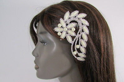 Silver Metal Head Hair Pin Long Leaf Flower Multi Rhinestones New Women Hair Accessories