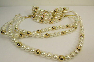 Gold Metal Multi Pearl Beads 3 Strands Chains Choker Necklace New Women Fashion - alwaystyle4you - 7