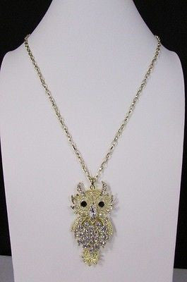 "New Women 26"" Gold Metal Chains Fashion Necklace Big Owl Silver Rhinestone - alwaystyle4you - 6"