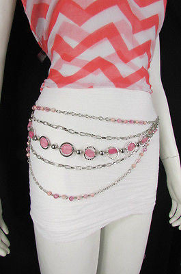 Pink Beads Silver Metal Multi Chains 5 Strands Hip Waist Belt New Women Fashion Accessories XS S M L - alwaystyle4you - 3