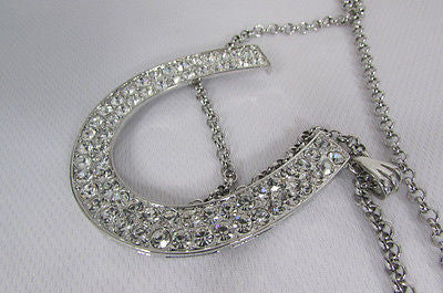 Long Silver Metal Chain Necklace Horse Shoe Rhinestones Pendant New Men Fashion Style - alwaystyle4you - 9