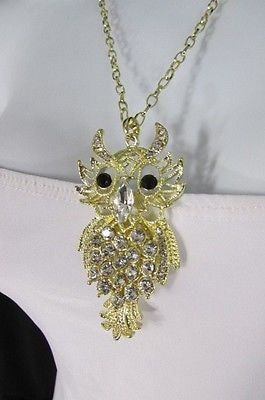 "New Women 26"" Gold Metal Chains Fashion Necklace Big Owl Silver Rhinestone - alwaystyle4you - 1"