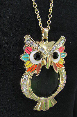 New Women Long Fashion Necklace Thin Gold Chains Owl Magnifying Glass Pendant - alwaystyle4you - 12