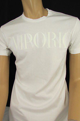 New Emporium Armani Men Signature White Fashion Authentic T-shirt Crew-neck Top Medium $195 - alwaystyle4you - 1