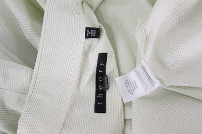 Theory Men White Button Down Dress Shirt Green Pin Stripes Classic Large 34-35 - alwaystyle4you - 2