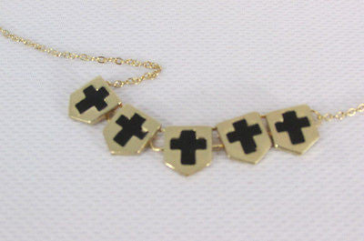 New Women Gold Metal Chain Fashion Necklace Five Mini Black Crosses Long Pendant - alwaystyle4you - 9