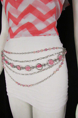 Pink Beads Silver Metal Multi Chains 5 Strands Hip Waist Belt New Women Fashion Accessories XS S M L - alwaystyle4you - 9