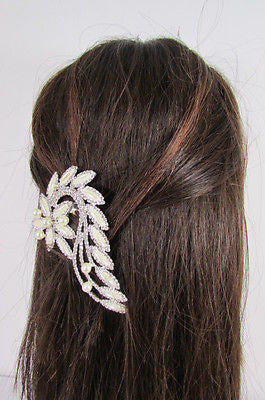 New Women Silver Metal Head Jewelry Rhinestones Long Leaf 1 Side Hair Pin Flower - alwaystyle4you - 9