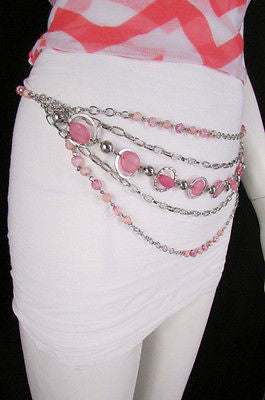 Pink Beads Silver Metal Multi Chains 5 Strands Hip Waist Belt New Women Fashion Accessories XS S M L - alwaystyle4you - 13