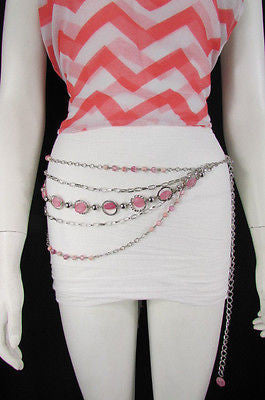 Pink Beads Silver Metal Multi Chains 5 Strands Hip Waist Belt New Women Fashion Accessories XS S M L - alwaystyle4you - 11