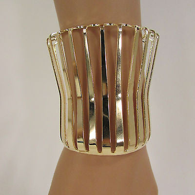 "Gold Wide Metal Cuff Bracelet Unique Cut Shape  3"" Long New Women Fashion Jewelry Accessories - alwaystyle4you - 8"
