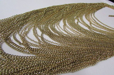 Extra Long Gold Multi Strands Chains Necklace + Earrings Set New Women Fashion - alwaystyle4you - 5