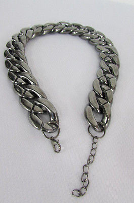 Women Fashion Pewter Gunmetal Light weight Plastic Chunky Chain Thick Necklace - alwaystyle4you - 7