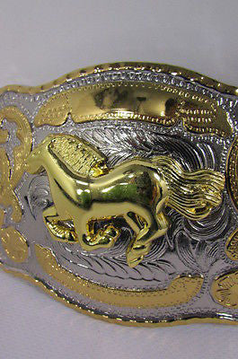 "New Belt Buckle 5.5""/4"" Big Gold Rodeo Horse Large Silver Metal Western Rodeo Fashion Belt Buckle 3D Texas - alwaystyle4you - 11"