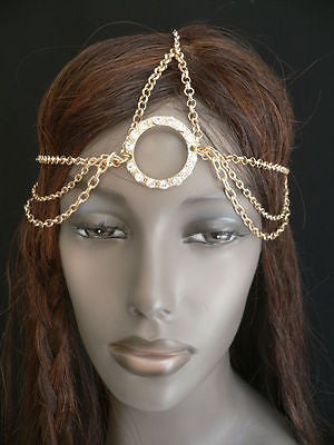 New Miami Beach Women Gold Big Ring Metal Head Chain Jewelry Hair Accessories - alwaystyle4you - 10
