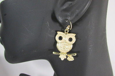 New Women Gold Metal Owl Jewelry Earrings Set Black Eyes Birds Hook Light Weight - alwaystyle4you - 6