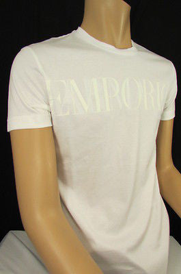 New Emporium Armani Men Signature White Fashion Authentic T-shirt Crew-neck Top Medium $195 - alwaystyle4you - 7