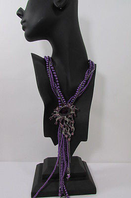 Purple Beads Long Twisted Necklace Big Flare Broach +Earrings Set New Women Fashion - alwaystyle4you - 7