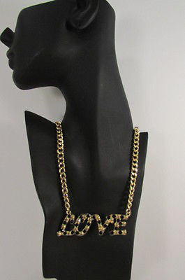 "New Women Fashion Necklace Gold Metal Chains LOVE Pendant Black Rhinestone 16"" - alwaystyle4you - 11"