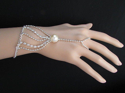 New Women Silver Thin Fashion Hand Chain Bracelet Slave To Ring Wide Net Wrist - alwaystyle4you - 3