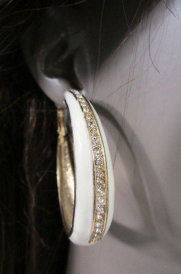 N. Women Gold White Metal Classic Hoop Fashion Earrings Set Multi Rhinestones - alwaystyle4you - 12