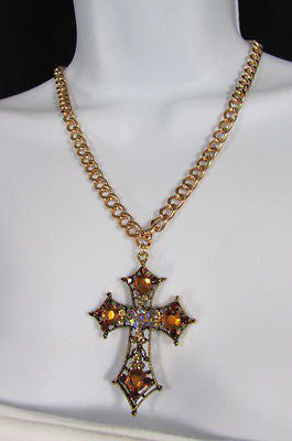 New Women Gold Metal Chain Fashion Necklace Big Cross Brown Rhinestones Pendant - alwaystyle4you - 2