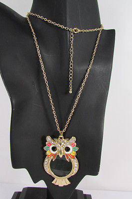 New Women Long Fashion Necklace Thin Gold Chains Owl Magnifying Glass Pendant - alwaystyle4you - 3