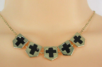 New Women Gold Metal Chain Fashion Necklace Five Mini Black Crosses Long Pendant - alwaystyle4you - 8