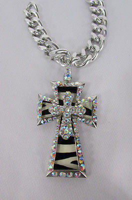 New Women Silver Metal Plate Scarf Necklace Pendant Charm Big Cross Rhinestones - alwaystyle4you - 2
