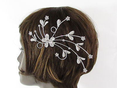 New Women Silver Metal Big Flowers Leaf Rhinestone Large Head Fashion Jewelry - alwaystyle4you - 9
