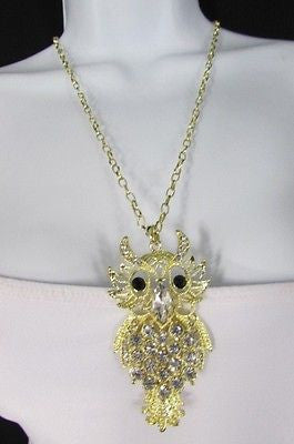 "New Women 26"" Gold Metal Chains Fashion Necklace Big Owl Silver Rhinestone - alwaystyle4you - 7"