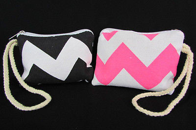 New Women Fashion Mini Purse Fabric Make Up Coin Wallet Chevron Print Rope Starp - alwaystyle4you - 1