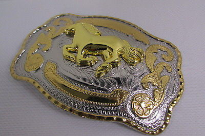 "New Belt Buckle 5.5""/4"" Big Gold Rodeo Horse Large Silver Metal Western Rodeo Fashion Belt Buckle 3D Texas - alwaystyle4you - 10"