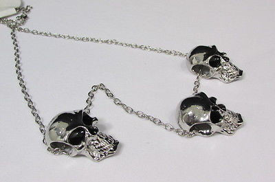 Long Metal Chains Fashion Necklace 3 Big Silver Black Skulls Pendant New Men Style Accessories - alwaystyle4you - 9