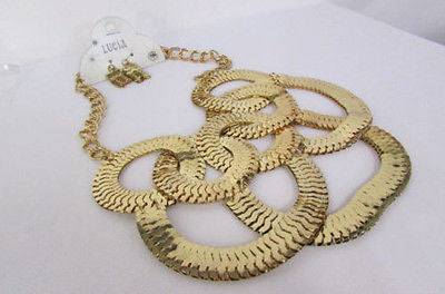 Gold Metal Thin Links Multi Strands Necklace + Earrings Set New Women Fashion - alwaystyle4you - 2