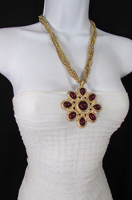 Long Gold Chains Necklace Big D. Red Flower Pendant + Earrings Set New Women Fashion - alwaystyle4you - 7