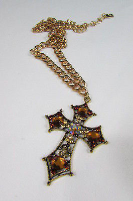 New Women Gold Metal Chain Fashion Necklace Big Cross Brown Rhinestones Pendant - alwaystyle4you - 5