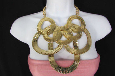 Gold Metal Thin Links Multi Strands Necklace + Earrings Set New Women Fashion - alwaystyle4you - 1