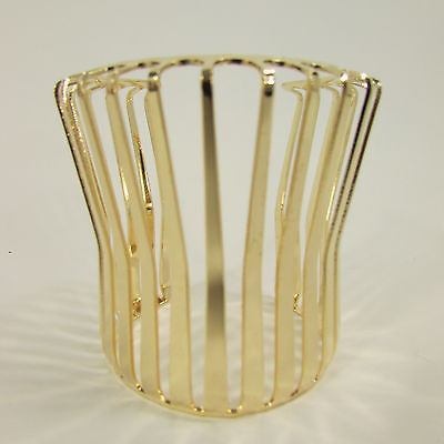 "Gold Wide Metal Cuff Bracelet Unique Cut Shape  3"" Long New Women Fashion Jewelry Accessories - alwaystyle4you - 7"