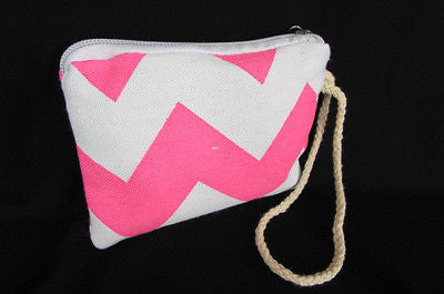 New Women Fashion Mini Purse Fabric Make Up Coin Wallet Chevron Print Rope Starp - alwaystyle4you - 27