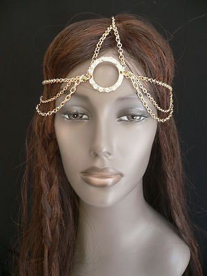 New Miami Beach Women Gold Big Ring Metal Head Chain Jewelry Hair Accessories - alwaystyle4you - 7