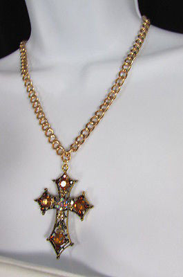 New Women Gold Metal Chain Fashion Necklace Big Cross Brown Rhinestones Pendant - alwaystyle4you - 8