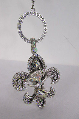 New Women Silver Metal Scarf Necklace Pendant Charm Fleur De Lis Bull Football - alwaystyle4you - 10