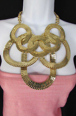 Gold Metal Thin Links Multi Strands Necklace + Earrings Set New Women Fashion - alwaystyle4you - 3