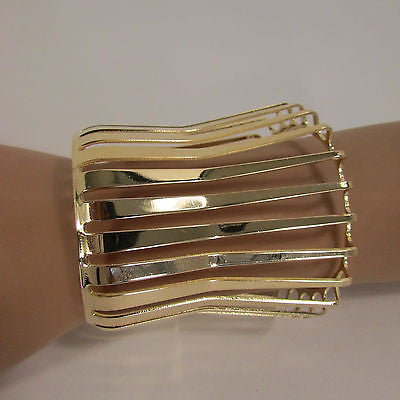"Gold Wide Metal Cuff Bracelet Unique Cut Shape  3"" Long New Women Fashion Jewelry Accessories - alwaystyle4you - 11"