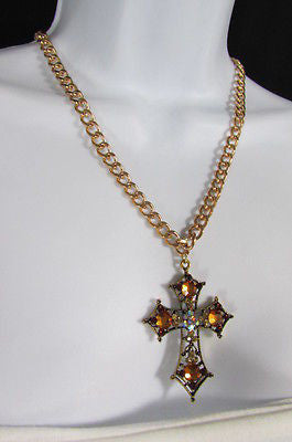 New Women Gold Metal Chain Fashion Necklace Big Cross Brown Rhinestones Pendant - alwaystyle4you - 6