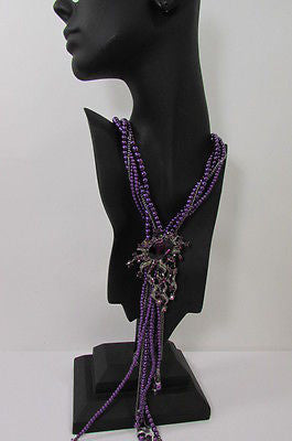 Purple Beads Long Twisted Necklace Big Flare Broach +Earrings Set New Women Fashion - alwaystyle4you - 10