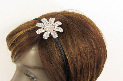 New Women Classic Fashion Headband Large Flower Silver Rhinestones Hair Band - alwaystyle4you - 9